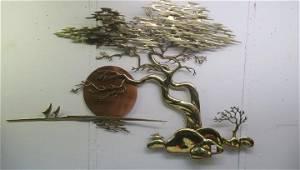 BIJAN J. BIJAN, Baked Enamel on Brass, 3D Wall Art: