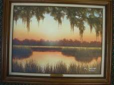 JIM BOOTH SUNRISE SC LOW COUNTRY Oil on Canvas