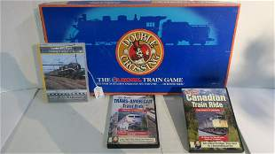 LIONEL DOUBLE CRO$$ING Board Game and Railroad DVDs: