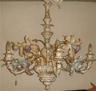 CAPO DI MONTE Italian Porcelain Chandelier: