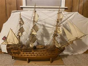 Large Wooden Plank Model of HMS Victory, 5 Feet Long: