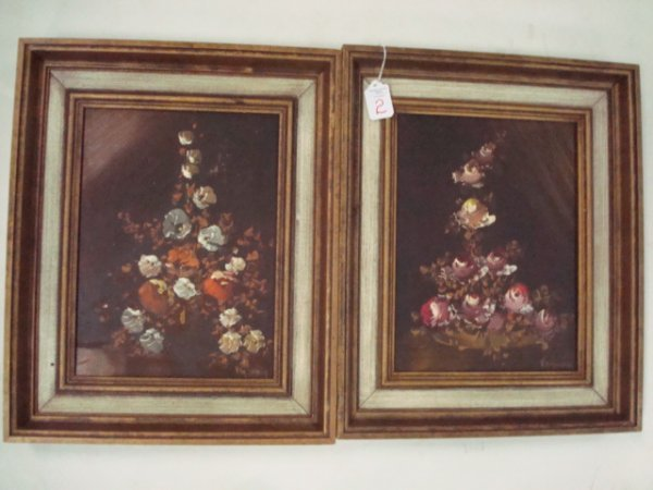 2: 2 Signed VAN DUNAN Floral Oil Paintings on Canvas: