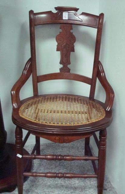 4: Eastlake Walnut Cane Seat Side Chair: