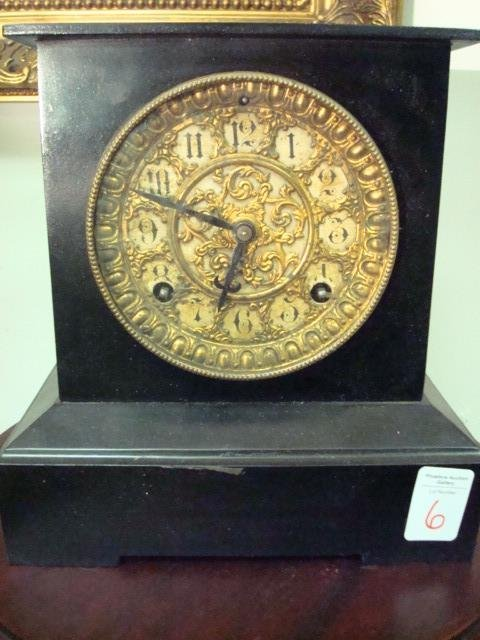 6: ANSONIA Metal Case Shelf Clock with Embossed Face: