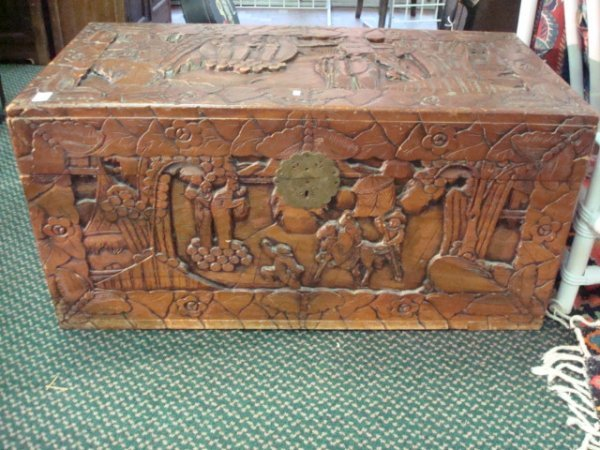 10: Handcarved 1950's Chinese Camphor Blanket Chest: