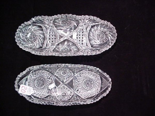 20: 2 Cut Crystal Oval Celery Dishes: