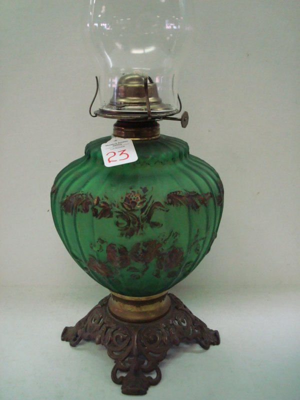 23: Green Satin Glass Oil Lamp with Brass Foot: