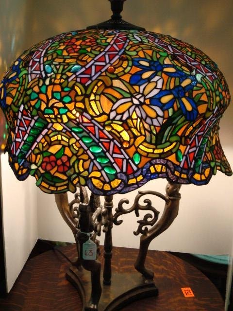 63: Griffin Lamp Base with 1,000 Piece Glass Shade: