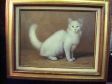102: COMPTON Oil on Canvas White Cat: