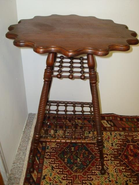 1508: Walnut Scalloped Edge Side Table with Lattice Tie