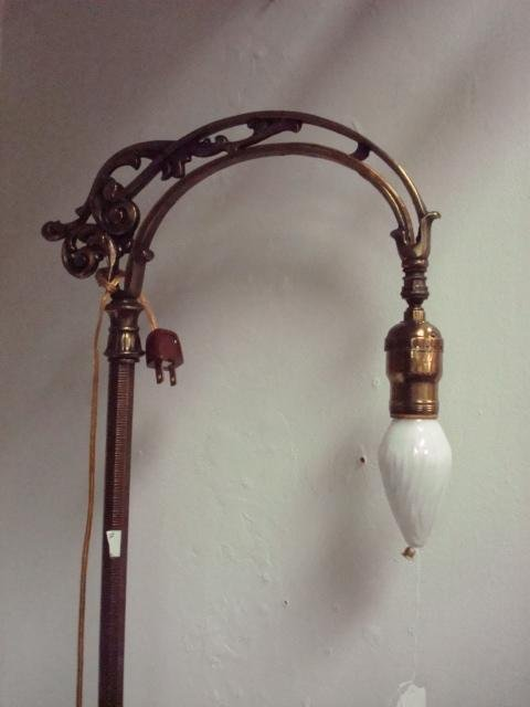 1517: Brass Single Arm Bridge Lamp: