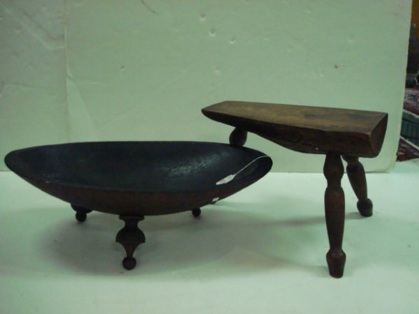 1519: Handmade Footed Dough Bowl and Foot Stool: