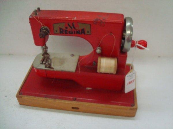 1004: Rare REGINA Red Child's Miniature Sewing Machine: