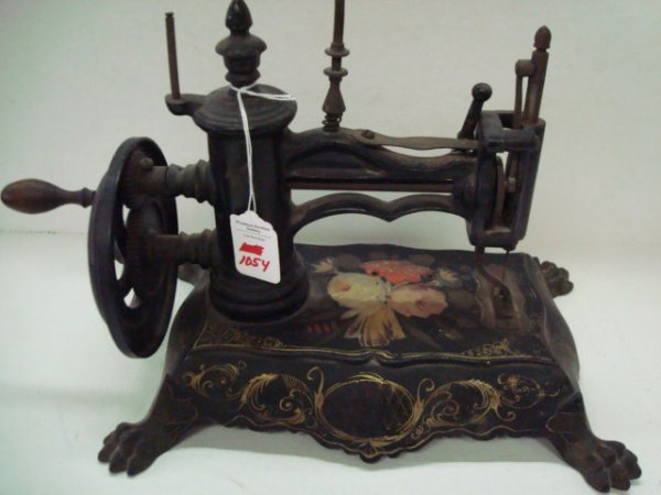 1054: Rare Antique SHAW AND CLARK Sewing Machine: