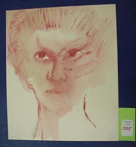 505: AB JACKSON Woman Conte Crayon and Watercolor: