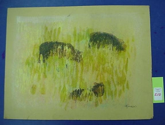 510: AB JACKSON Three Cows Crayon and Oil on Board:
