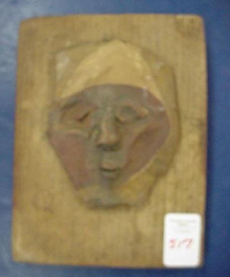 517: RARE Attributed to AB JACKSON Face Clay on Wood: