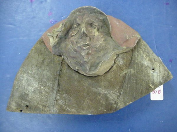 518: RARE AB JACKSON Face with Habit Clay on Wood: