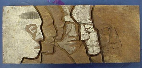 535: Attributed AB JACKSON Woodblock Carving: