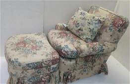 Classic Comfy Upholstered Arm Chair with Foot Stool:
