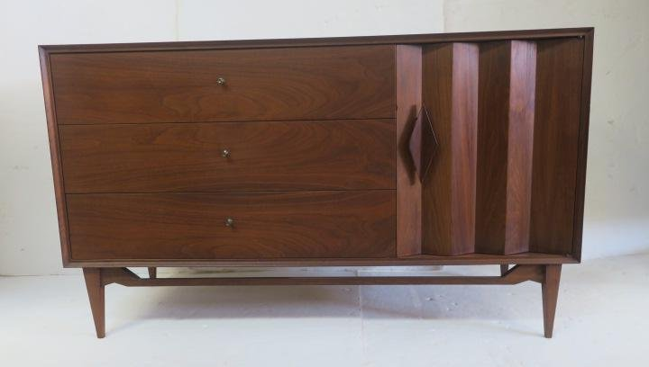Cherry Mid-Century Modern Short Dresser and End Table: