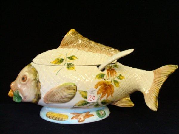 1: Italian Ceramic Fish Shaped Tureen with Ladle: