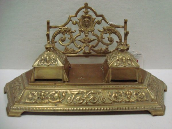 2: Ornate Double Well Brass Inkwell:
