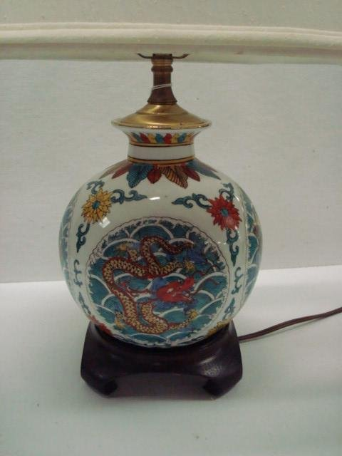 3: Bulbous Base Asian Influence Table Lamp with Shade: