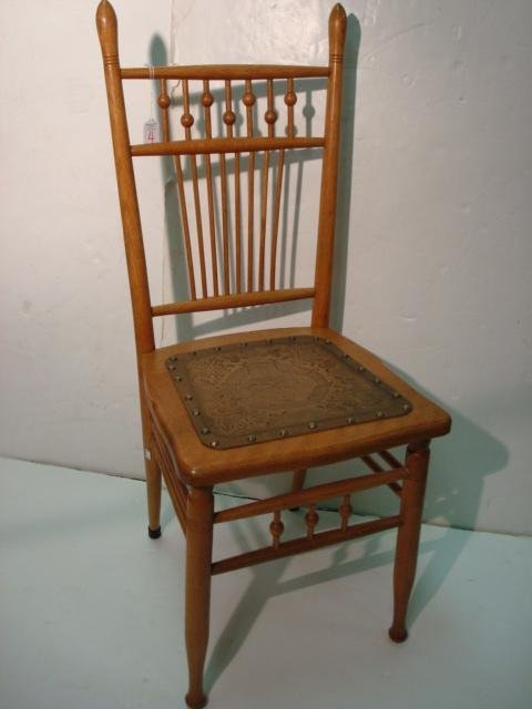 4: Oak Side Chair with Pressed Fiber Seat:
