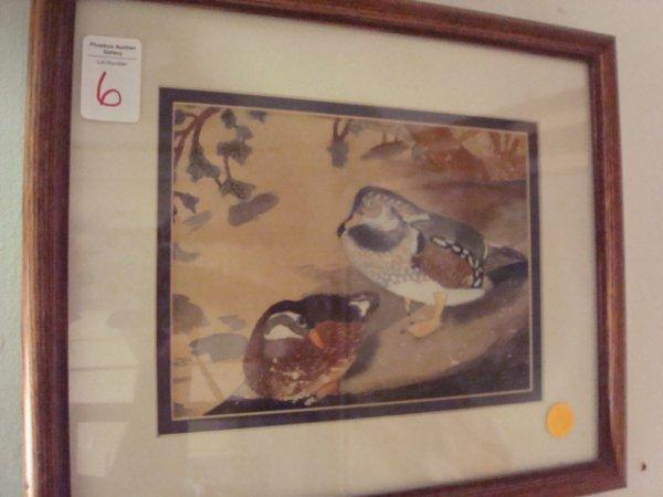 6: 1927 Watercolor on Paper of Ducks:
