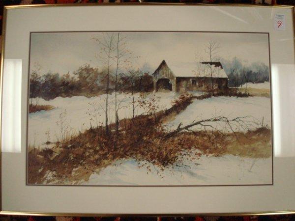 9: Signed AL FOCA Snowy Landscape Watercolor with Barn: