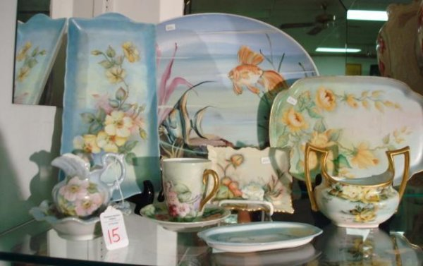 15: 10 Pieces of Floral and Fish Hand painted China: