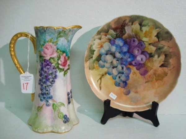 17: Hand painted Plate and J POUYAT Pitcher: