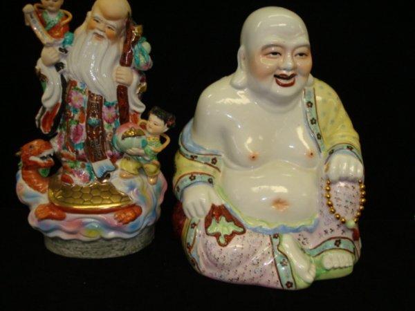 21: Ceramic Japanese Hoti and Chinese Elder Figurines: