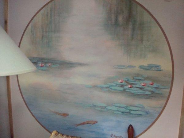 22: Signed R ATKINS Koi Acrylic Oil on Canvas: