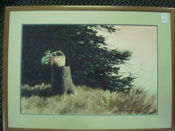 22A: Signed J ROBERT BURNELL Watercolor Landscape on