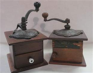 Two Antique Coffee Grinders with Finger Joints: