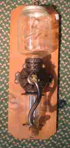 Antique Cast Iron Arcade Coffee Grinder, Glass Top: