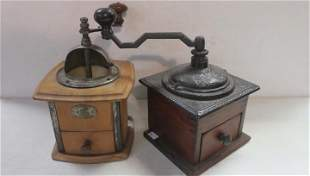 Two Antique Coffee Grinders: