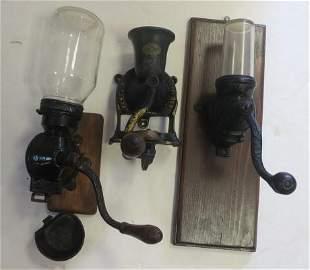 Three Antique Coffee Grinders: