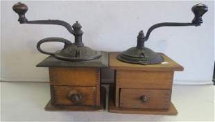 Two Finger Jointed Antique Coffee Grinders: