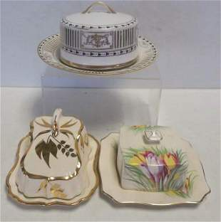 Three Vintage Ceramic Covered Butter Dishes: