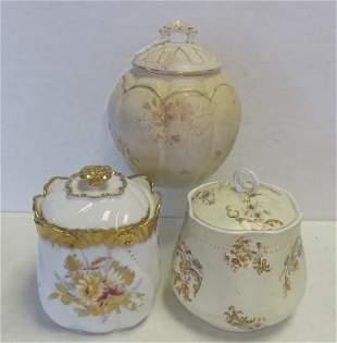3 Antique Porcelain Cracker or Biscuit Jars w/Lids: