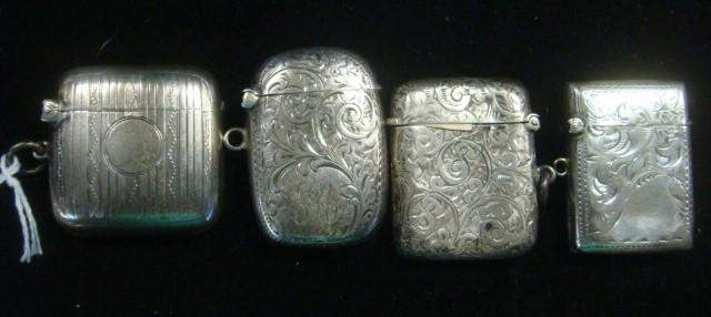 Four Small Sterling Chatelaine Vestas or Match Safes: