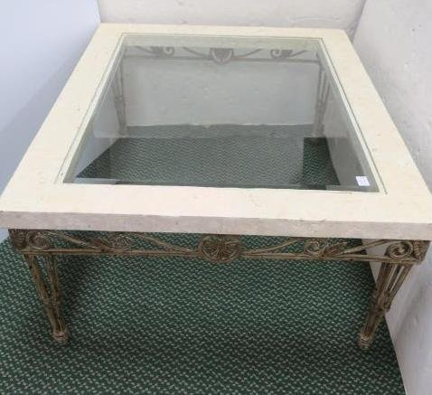 Wrought Iron Base, Glass & Travertine Top Coffee Table