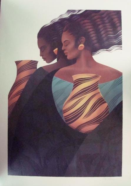 "713: PENCIL SIGNED/Numbered KEITH MALLETT ""Sisters"", 19"