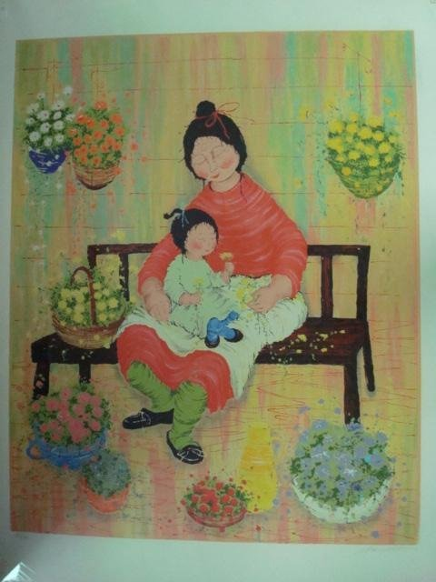 724: PENCIL SIGNED/Numbered Print. BARRETT. Mother & Ch