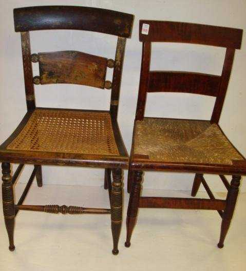 - 1188: 2 Antique Cane And Rush Bottom Chairs: