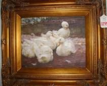 1295: Oil on Canvas, Ducks, in Ornate Gold Frame: