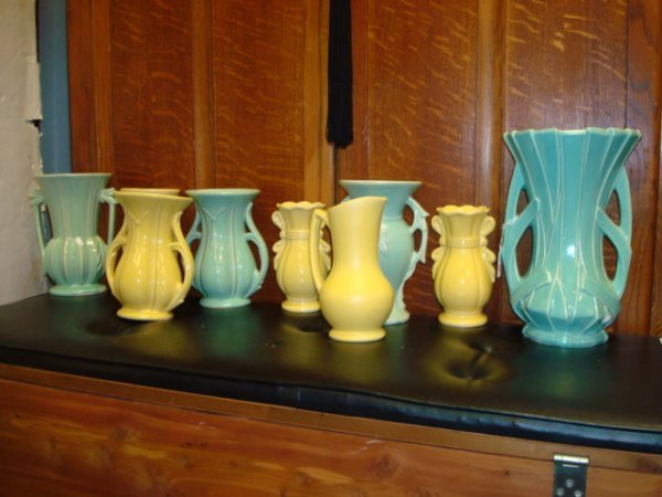 1513: 9 MCCOY Pottery Green and Yellow Vases: